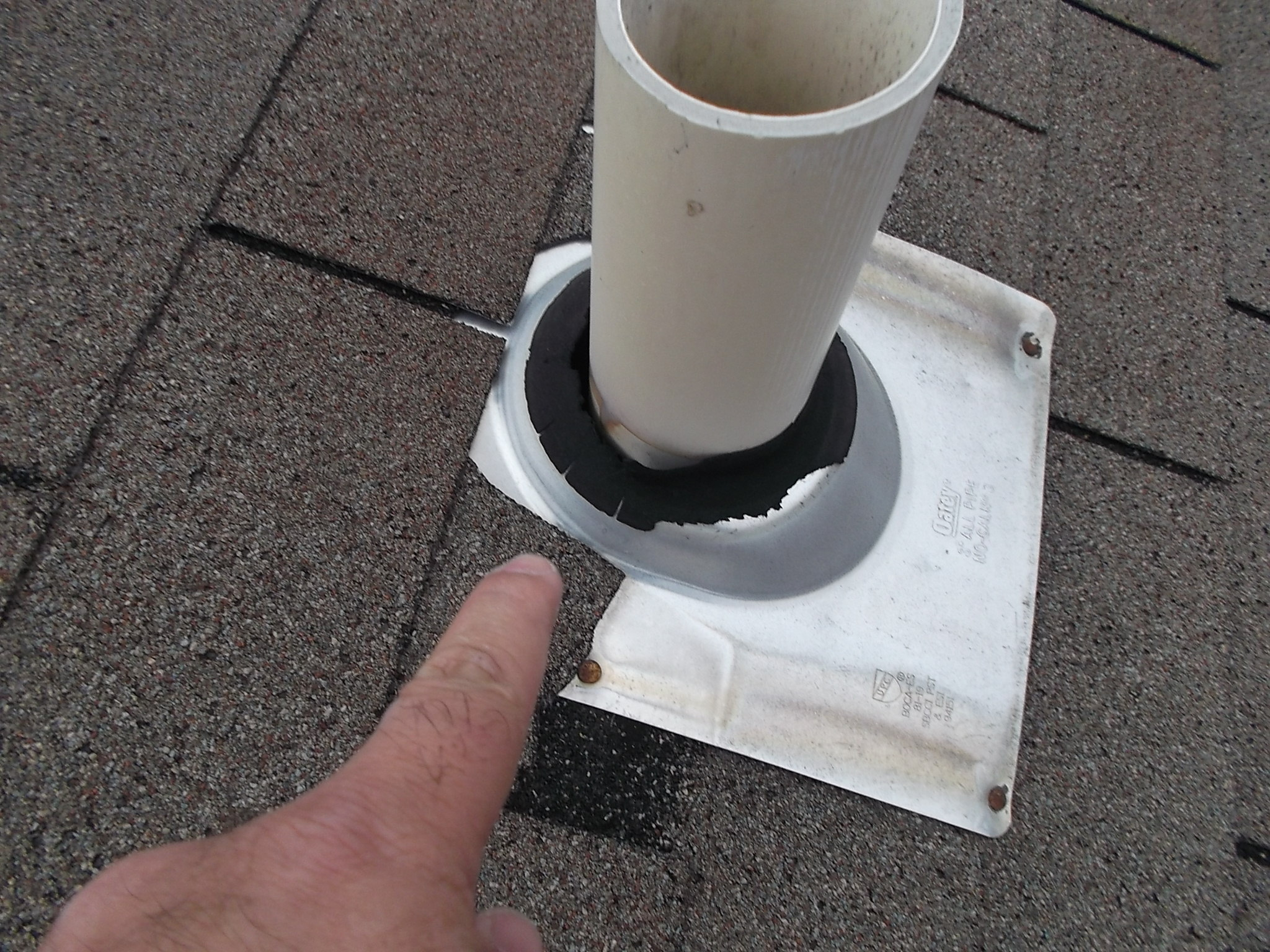 rotted rubber boot allowing water penetration to attic