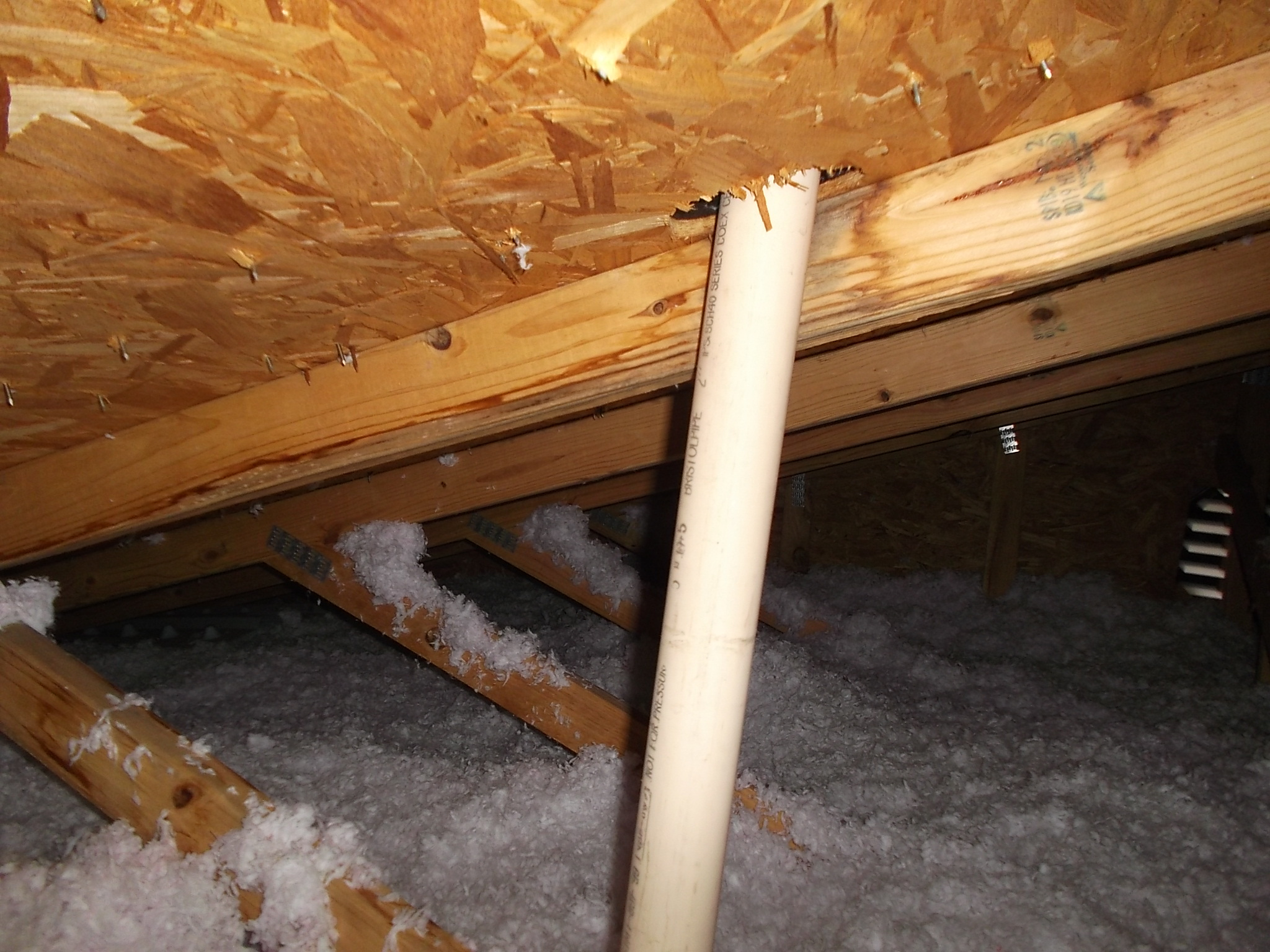 rotted roof vent allowing water in attic